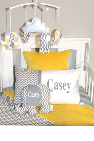 Musical Mobile- Yellow dot & Grey chevron elephants