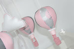 Musical Mobile-Baby Pink & Grey hot air balloon