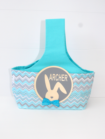 Easter Hunting Baskets - Aqua Chevron