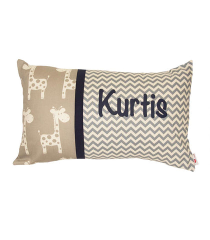 Personalised Cushion Grey Giraffe Chevron/Navy