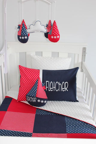 Navy & Red Star Patch Cot Set