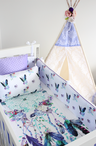 Lilac and Teal Dreamcatcher  Cot Set