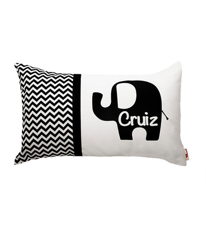 Personalised Cushion Black Chevron Elephant