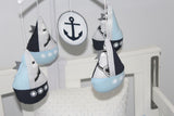 Musical Mobile-Sail Boat  Nautical Baby blue & Navy