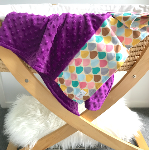 Personalised Pram Blanket - Grape  Mink | Pastel Drops