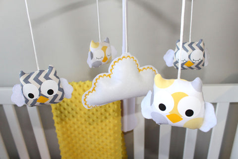 Musical Mobile-Owls Yellow and grey spots