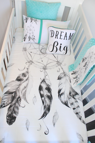 Black and White Dreamcatcher Comforter - mint mink