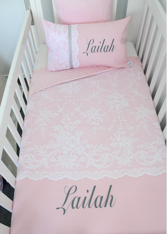 Wildflower lace cot comforter