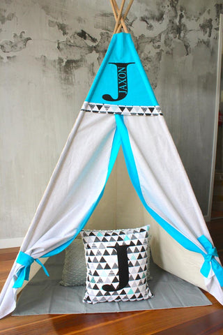Aqua & Triangle Geometric Teepee
