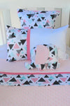 Pink & Grey Triangle Geometric Cot Set - PREMIUM