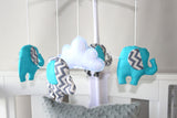 Musical Mobile- Aqua & Grey chevron elephants