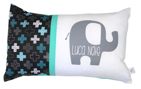 Elephant Plus Cross Geometric- Mint and Black Personalised Cushion - Hoot Designz
