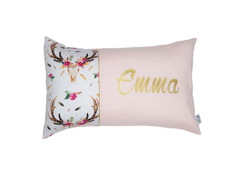 Boho Stag in Pink & Gold Personalised Cushion - Hoot Designz