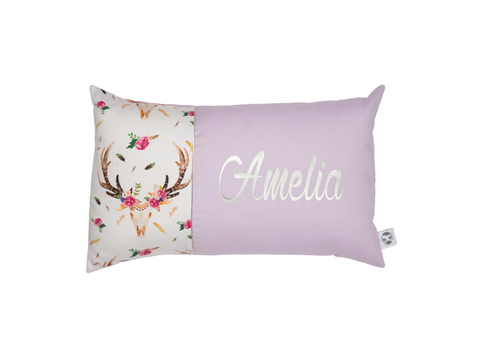 Boho Stag in Lilac & Silver Personalised Cushion - Hoot Designz