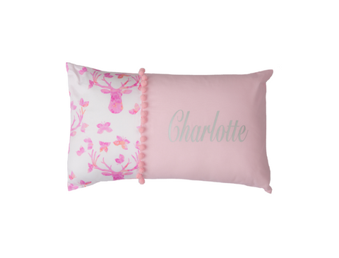 Stag in Baby Pink Personalised Cushion - Hoot Designz