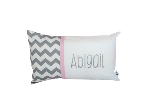 Grey Chevron with Baby Pink Personalised Cushion - Hoot Designz