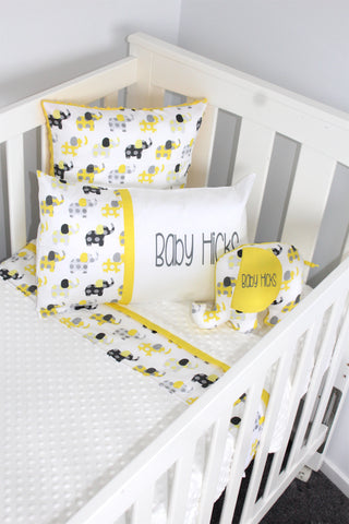 Lemon & Grey Elephant Cot Blanket - Hoot Designz