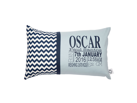 Navy Chevron with Colonial Blue Personalised Cushion - Hoot Designz