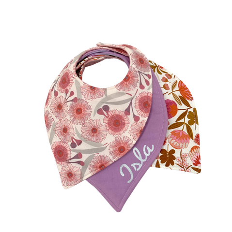 Flowering Botanical Bandana Bib Set