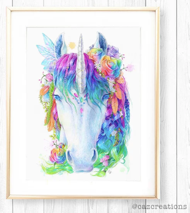 Glow in the Dark Rainbow Unicorn Print - Spirit Animal Totem Series - Hoot Designz