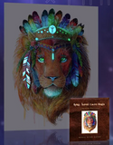 Glow in the Dark Bohemian Lion Print - Spirit Animal Totem Series - Hoot Designz