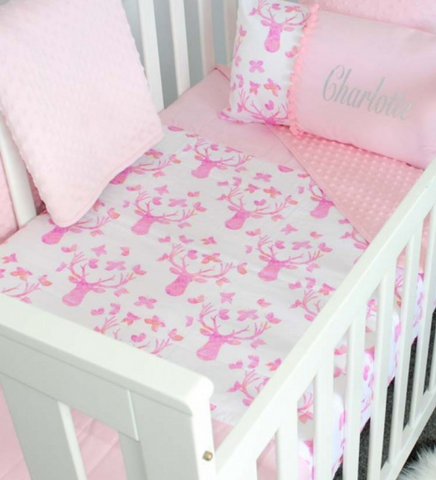 Stag in Baby Pink Comforter - Frankie & Fawn - Hoot Designz