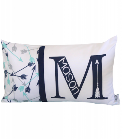 Arrow & Navy Personalised Cushion - Hoot Designz