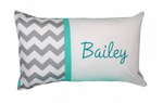 Grey Chevron with Mint Personalised Cushion - Hoot Designz