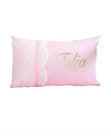 Lace Scallop Baby Pink Ribbon Personalised Cushion - Hoot Designz