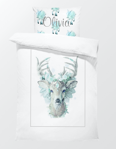 Bohemian Deer Mint Bed Set - Hoot Designz
