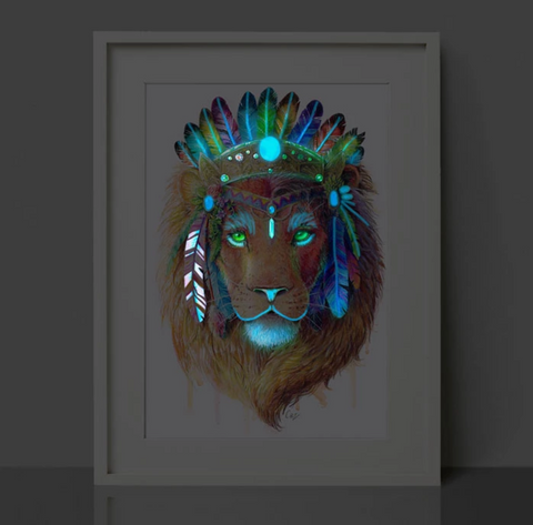 Glow in the Dark Lion Print