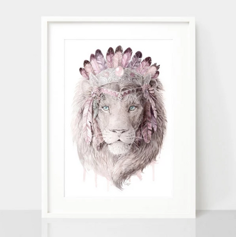 Bohemian Lion - Dusty Pink Print