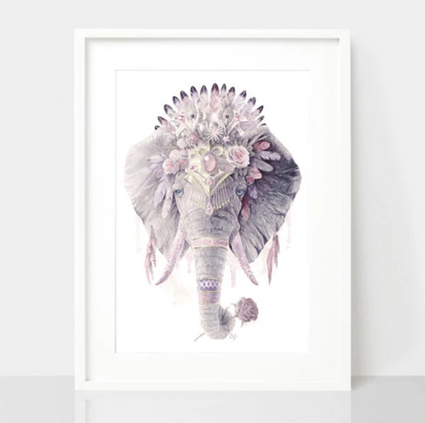 Dusty Pink Elephant Print - Spirit Animal Totem Series