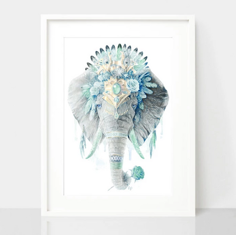 Mint Elephant Art Print