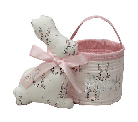 Baby Pink Rabbit - Easter Hunting Basket/Bunny