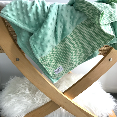 Personalised Pram Blanket - Pastel Mint  Mink | Light green Chevron