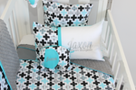 Aqua & Grey Plus Cross Geo - Comforter Cot Set