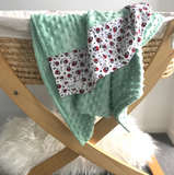 Personalised Pram Blanket - Pastel Mint Mink | Lady Beetle