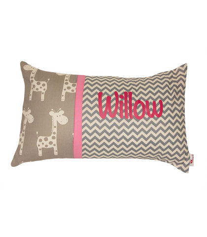 Personalised Cushion Grey Giraffe & Chevron /pink