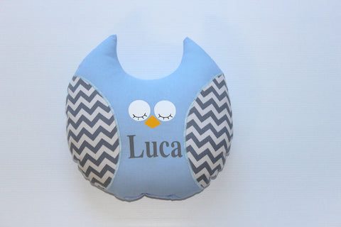 Owl - Softie Blue with Grey Chevron