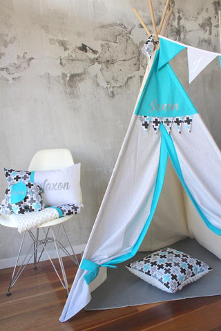 Teepee - Aqua & Geometric Cross