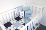 Blue Squirrel Patch Cot Set - PREMIUM