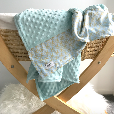 Personalised Pram Blanket - Pastel Mint Mink | Pattern