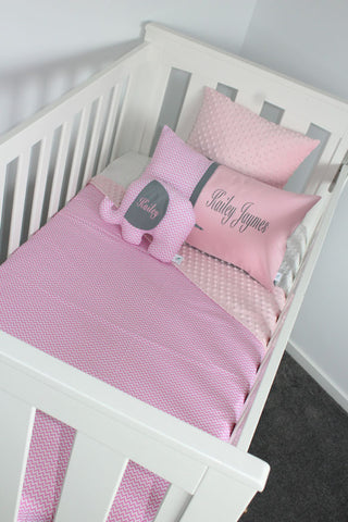 Baby Pink Chevron Cot Set