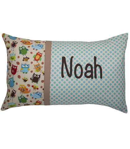 Personalised Cushion Aqua Dot Hoot