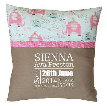 Birth Announcement Cushions - SQUARE - Pink Elephant Splash