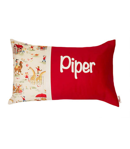 Personalised Cushion Zoo Time on Red
