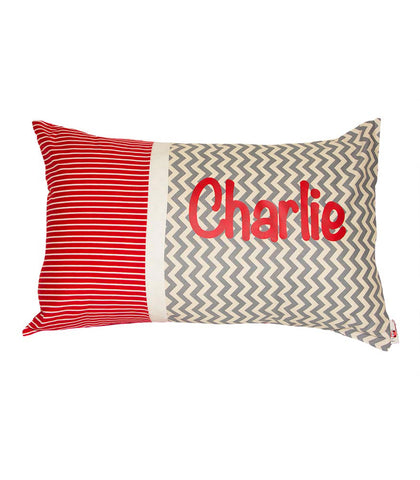 Personalised Cushion Grey Chevron & Red Stripes