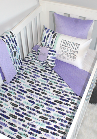 Lilac Feather Cot Set