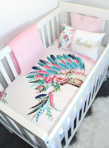 Boho Headdress Cot Set